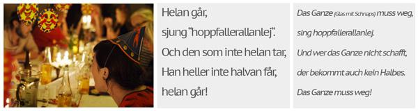 Kräftskiva in Schweden: Freunde singen das Lied Helan går beim schwedischen Krebsfest