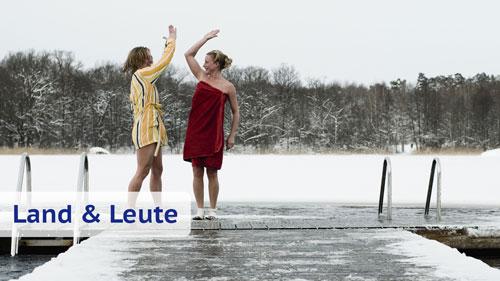 Schweden beim Winterbaden