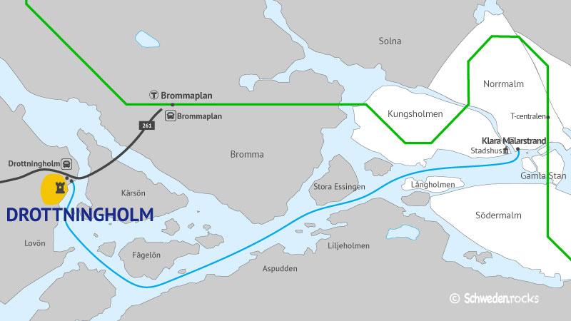 Karte zur Anreise von Stockholm nach Drottningholm