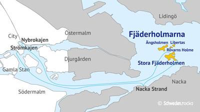 Karte der Schäreninseln Fjäderholmarna in Stockholm