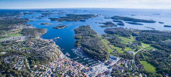 Grebbestad in der Gemeinde Tanum an der Küste von Bohuslän in Westschweden
