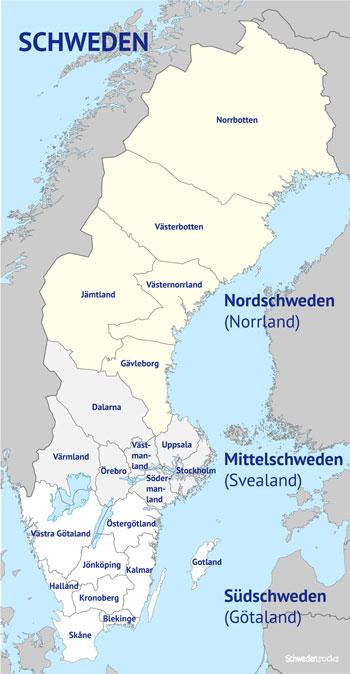 Schweden Karte Regionen.Schweden Regionen Provinzen Landesteile
