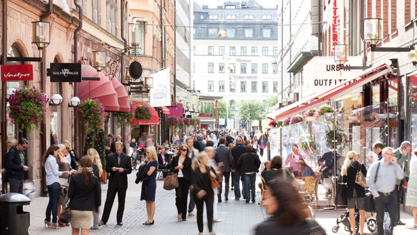 Shoppingmeile in Stockholm