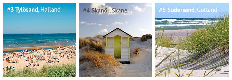 Strände in Schweden: Tylösand in Halland, der Strand Skanör in Skåne und Sudersand auf Fårö in Gotland
