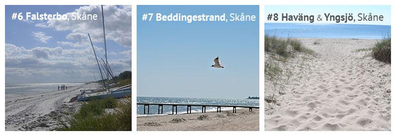 Strände in Schweden: Der Strand Falsterbo, Beddingestrand sowie die Strände Haväng und Yngsjö in Skåne