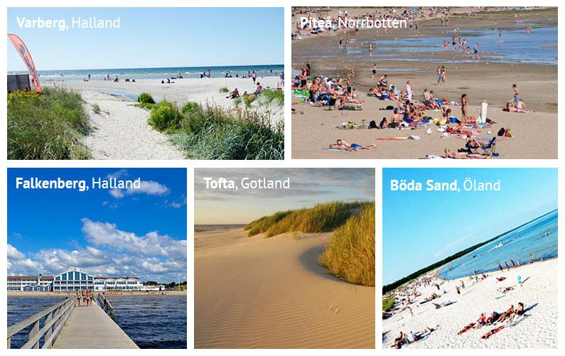 Strände in Schweden: Apelviken bei Varberg, Pite Havsbad bei Piteå in Norrbotten, der Skrea Strand bei Falkenberg in Halland, der Tofta Strand auf Gotland und Böda Sand auf Öland