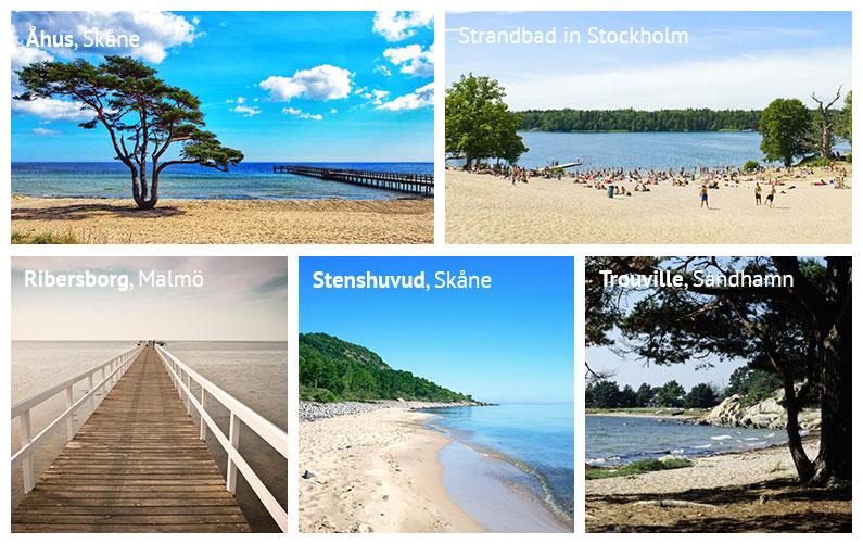 Strände in Schweden: Der Strand Täppet in Åhus, ein Strandbad in Stockholm, der Ribersborg Strand in Malmö, der Nationalpark Stenshuvud in Skåne sowie der Strand Trouville bei Sandhamn auf der Insel Sandön