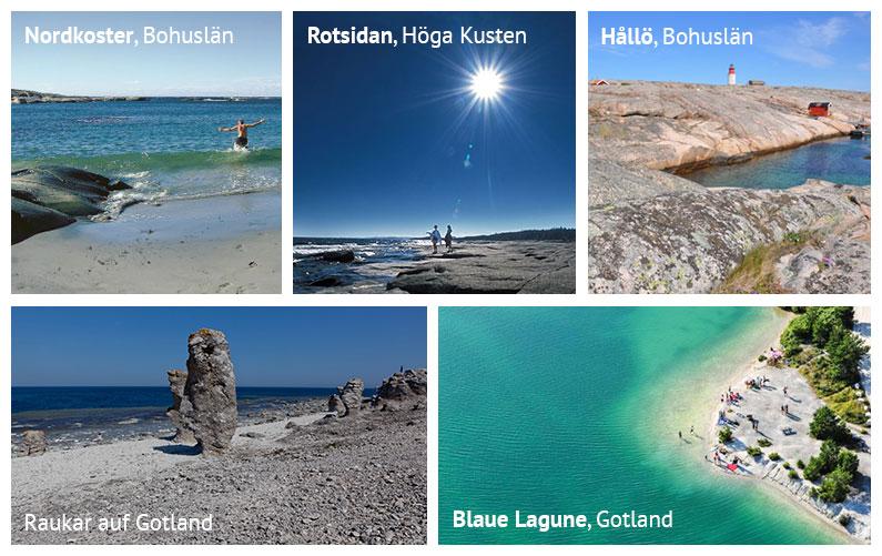Strände in Schweden: Nordkoster und Hållö in Bohuslän, Rotsidan in der Region Höga Kusten, sowie die Blaue Lagune und ein Strand mit Raukar auf Gotland