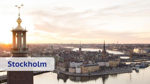 Rathaus, City und Altstadt von Stockholm