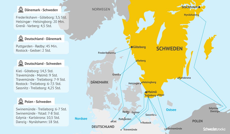 Karte Fährverbindungen; Fähre; Schweden; Dänemark; Frederikshavn; Göteborg; Helsingør; Helsingborg; Grenå; Varberg; Deutschland; Puttgarden; Rødby; Rostock; Gedser; Kiel Göteborg; Malmö; Travemünde; Trelleborg; Sassnitz; Polen; Swinemünde; Ystad; Gdynia; Karlskrona; Danzig; Nynäshamn; Nordsee; Ostsee; Urlaub; Schwedenurlaub; Anreise; Fährverbindung; Fährstrecke; Fährroute