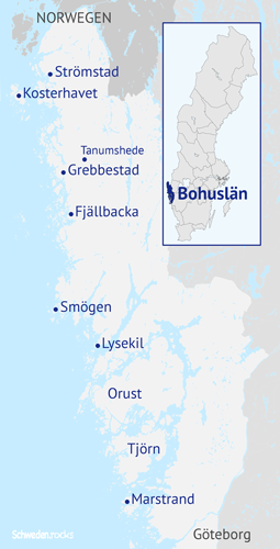 Karte mit den Orten an der Küste von Bohuslän in Westschweden zwischen Göteborg und Norwegen: Marstrand, Tjörn, Orust, Lysekil, Smögen, Fjällbacka, Grebbestad, Tanumshede, Kosterinseln, Strömstad im Westen von Schweden