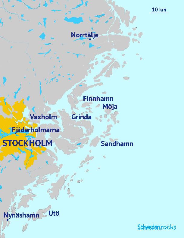 Karte Schärengarten: Stockholms Schären