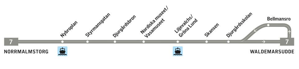 Karte mit Fahrplan der Straßenbahn-Linie 7 in Stockholm
