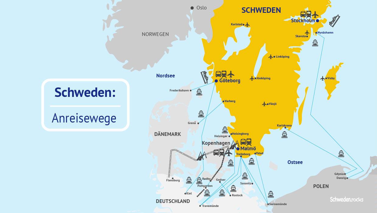 Anreise nach Schweden: Karte von Nordeuropa mit den Anreisewegen Flug, Fähre, Auto, Landweg, Kreuzfahrt, Bus und Bahn