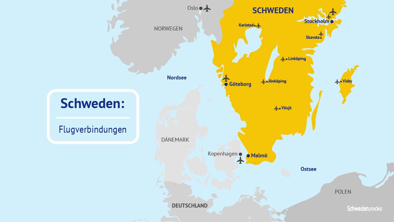 Flughäfen Deutschland Karte.Flüge Und Flugverbindungen Nach Schweden