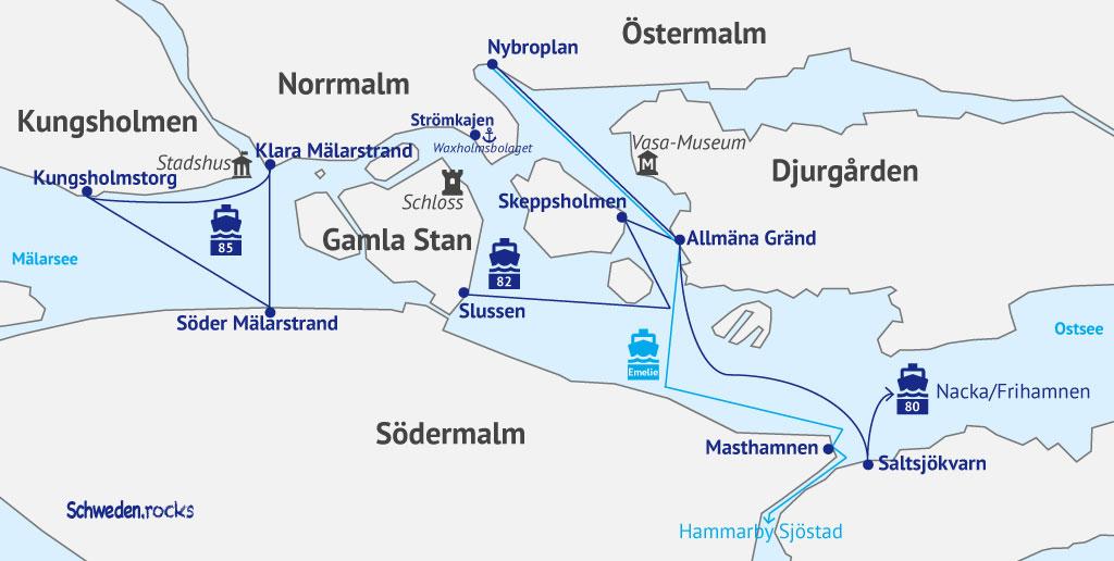 Karte Verkehrsmittel Stockholm: SL Nahverkehr mit Schiff und Fähre