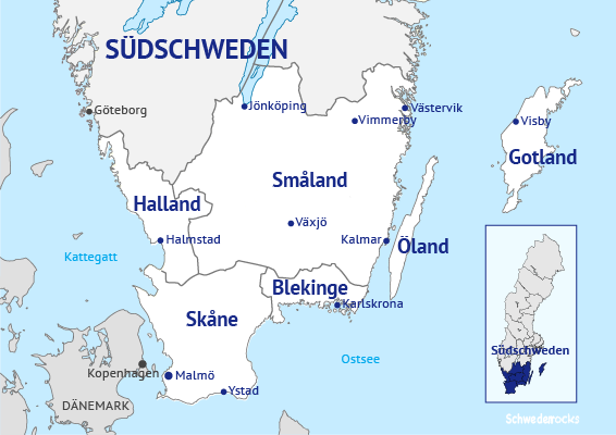 Schweden Karte Regionen.Sudschweden Alle Urlaubsregionen