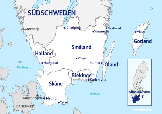Südschweden; Schweden; Skåne; Schonen; Halland; Halmstad; Malmö; Ystad; Blekinge; Karlskrona; Vimmerby; Jönköping; Växjö; Kalmar; Öland; Gotland; Visby; Karte