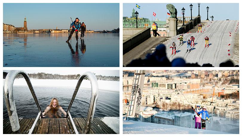Wintersport in Stockholm: Eisbaden, Eislaufen, Schlittschuhlaufen, Langlauf , Ski-Abfahrt und Snowboard am Hammarbybacken.