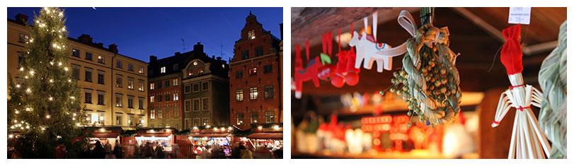 Weihnachten, Weihnachtsmarkt und Winter in Stockholm