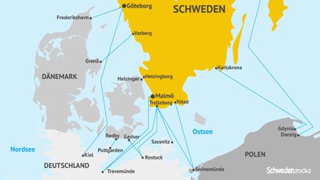 Karte mit Fährverbindungen nach Schweden
