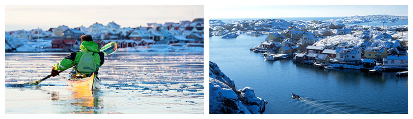 Schwedens Westküste, Schärengarten in Westschweden, Küste von Bohuslän und die Schären von Göteborg im Winter bei Schnee und Eis