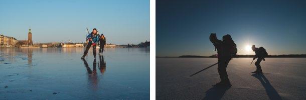 Winteraktivität Langlaufschlittschuhfahren bzw Nordic Iceskating in Schweden