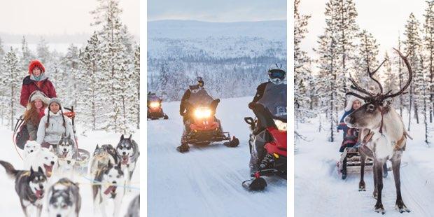 Schneemobil, Hundeschlitten und Rentierschlitten im Winter in Schweden