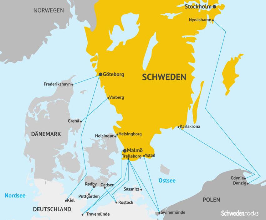 Schweden-Fähren: Karte mit allen Fährverbindungen von Stena Line, TT-Line, Finnlines, Polferries, Unity Line.