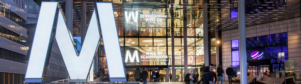 Shopping unter einem Dach in der Mall of Scandinavia in Stockholm